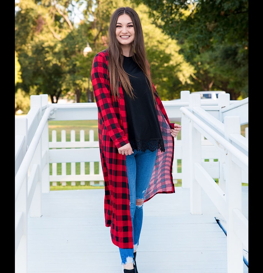 1108 LONG BUFFALO PLAID DUSTER