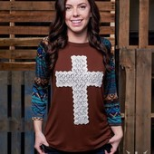 1290 CROCHET CROSS WITH NAVAJO SIZE SMALL