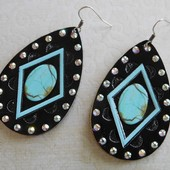 5251 TURQUOISE ON BLACK LEATHER EARRING