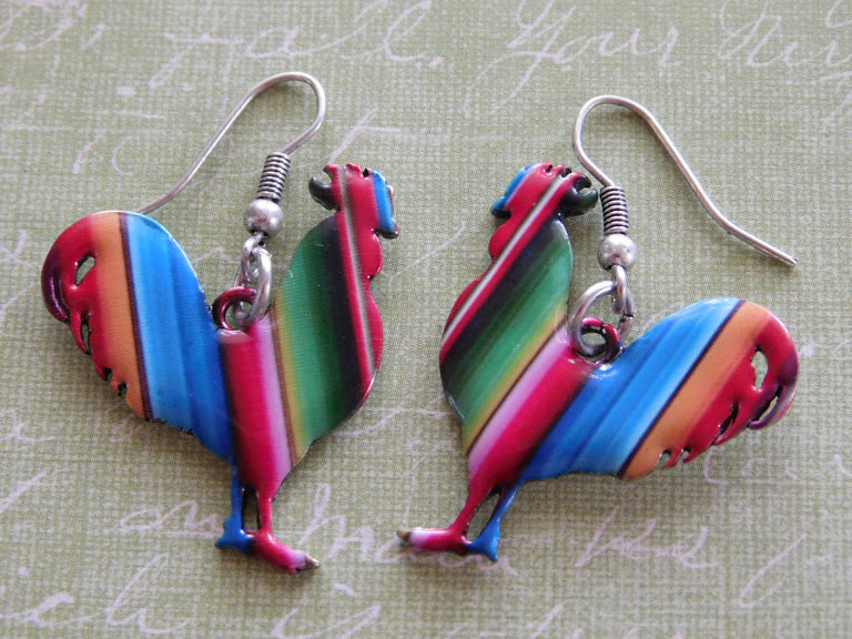 5279 METAL MULTICOLORED ROOSTER EARRINGS