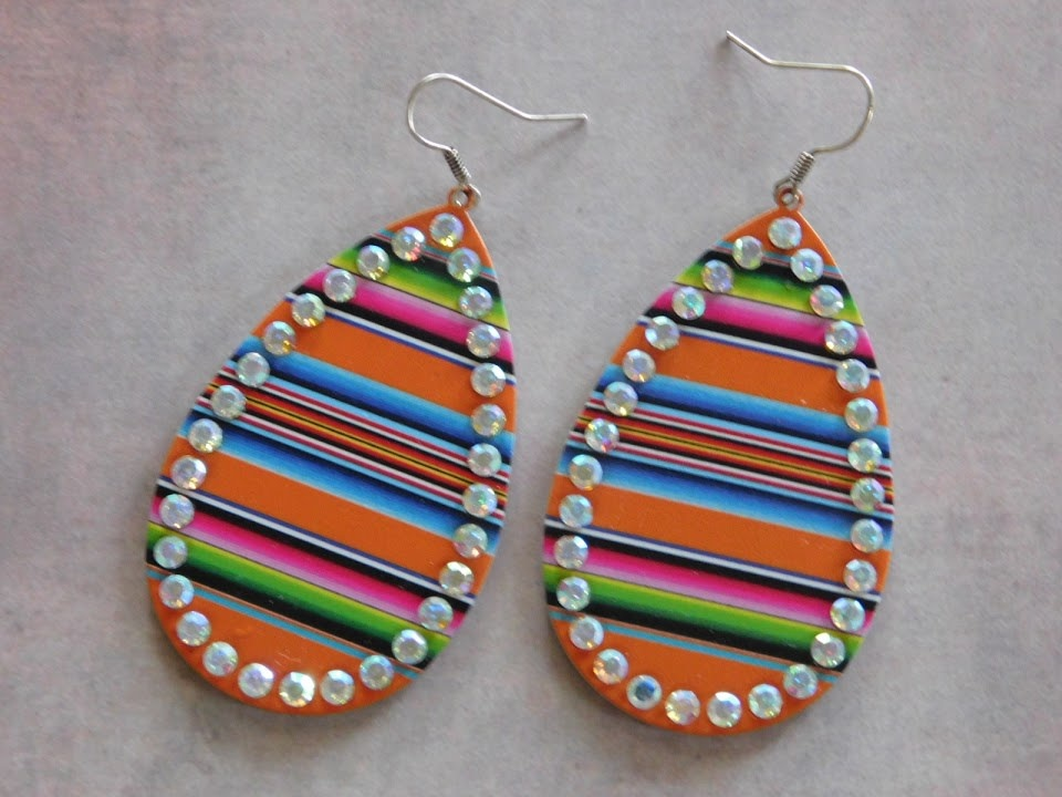 5281 METAL TEARDROP EARRINGS MULTICOLORED W/RHINESTONES