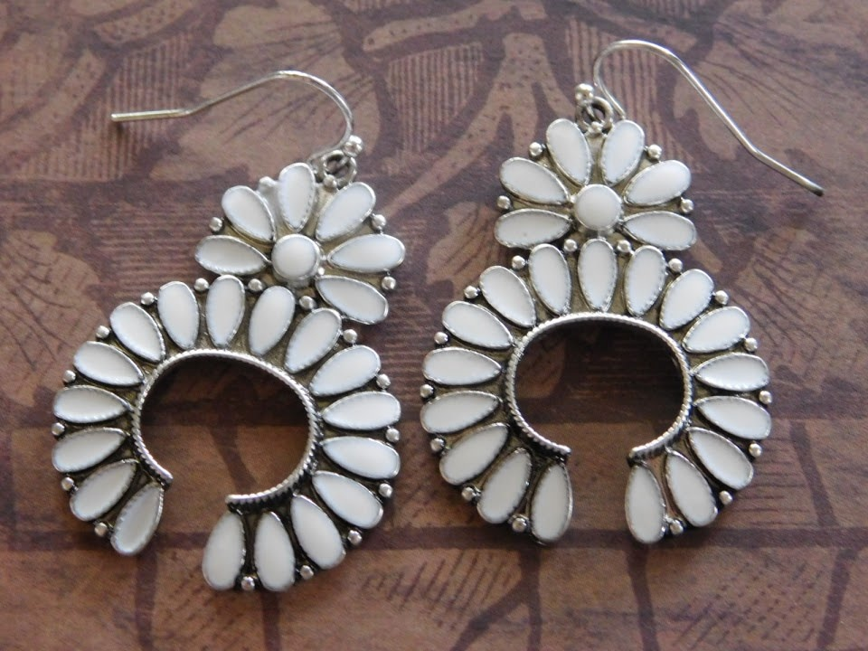 5284 WHITE SQUASH BLOSSOM EARRINGS
