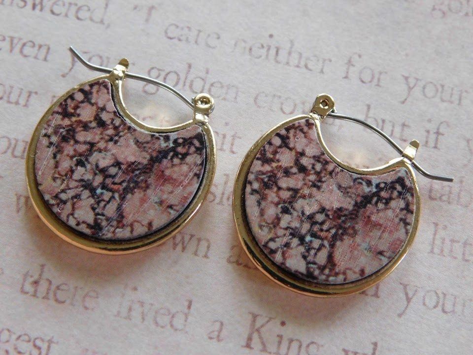 5286 BROWN/PINK CRESCENT EARRINGS