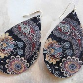 5295 LEATHER PAISLEY EARRINGS