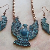 5300 COPPER BIRD PENDANT/EARRING SET