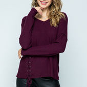 1304 LONG SLEEVE TOP WITH SIDE LACE-UP
