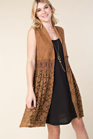 1273 SUEDE VEST W/CROCHET AND LACE