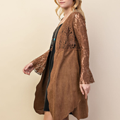 1323 SUEDE AND LACE MIXED MEDIA LONG SLEEVE CARDIGAN WITH SLIT DETAILS
