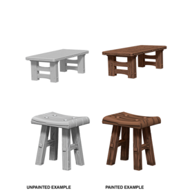 WizKids WizKids Unpainted W4 Wooden Table & Stools