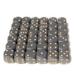 Chessex Opaque 12mm DarkGrey/Gd (36)