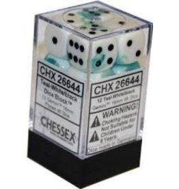 Chessex Gemini 16mm D6 TealWh/Bk (12)