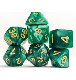 Dark Green Pearl w/ Gold Numbers Dice (7 Poly) (Tubed)