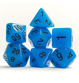 Blue Glow-in-the-Dark Dice (7 Poly) (Tubed)