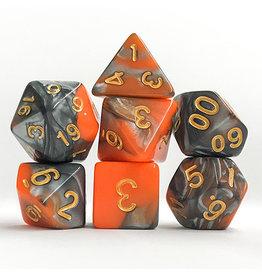 Orange/Silver Swirl Dice (7 Poly) (Tubed)