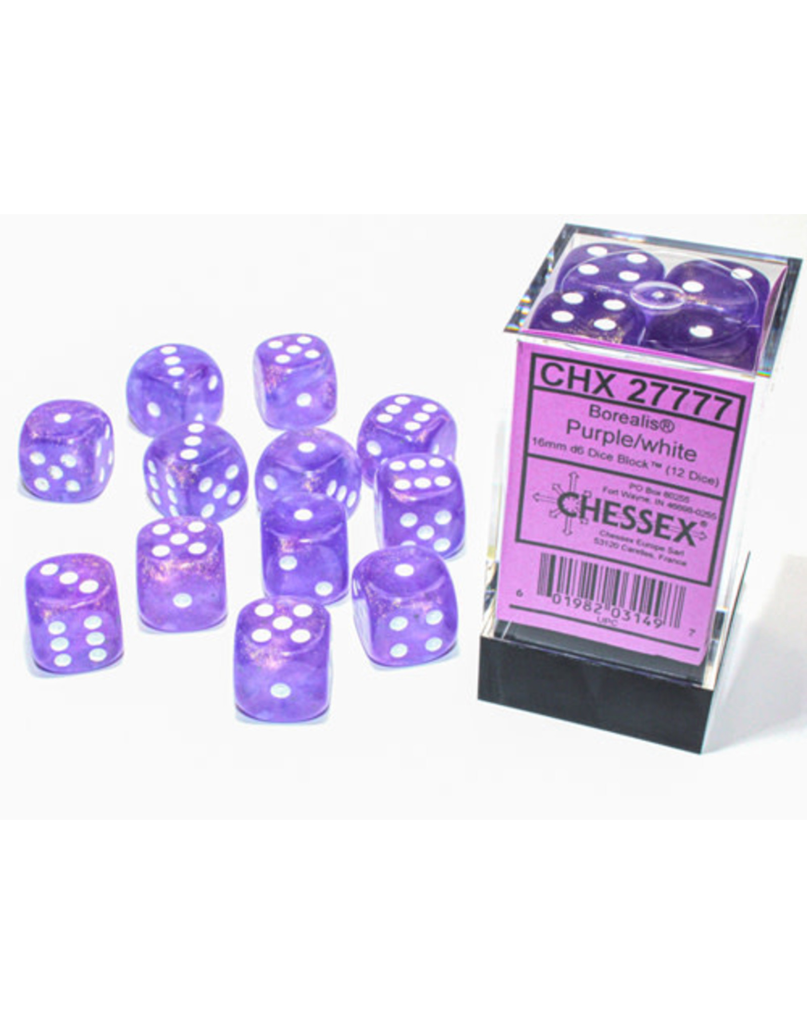 Chessex Borealis 16mm d6 Purple/white Luminary Dice (12)