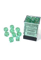 Chessex Borealis 12mm d6 Light Green/gold Luminary Dice (36)