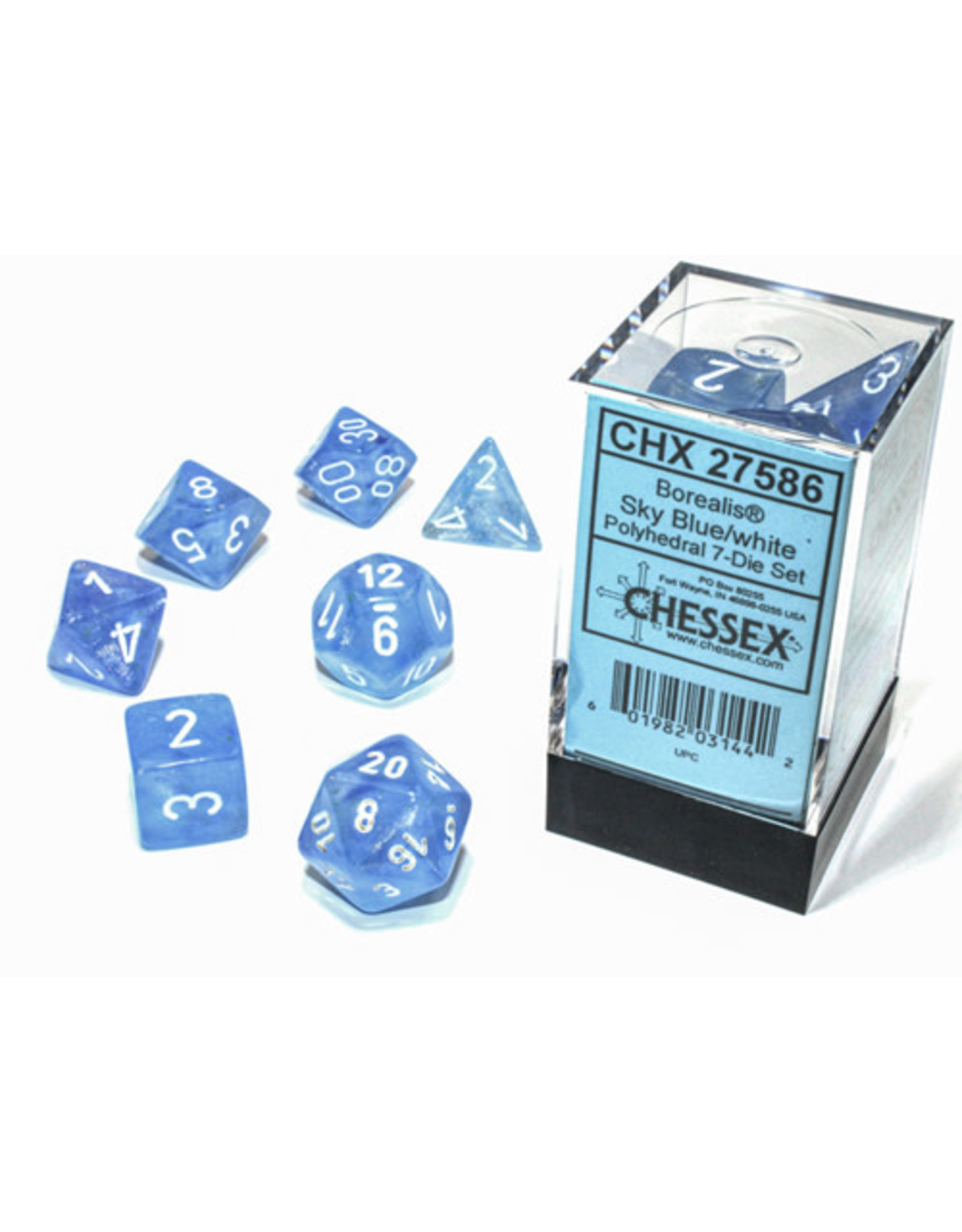 Chessex Borealis Polyhedral Sky Blue/white Luminary 7-Die