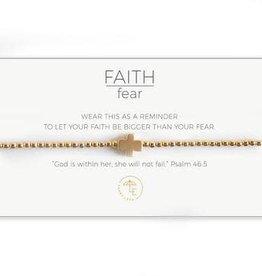 Lenny & Eva Faith Over Fear Stretch Bracelet Gold/Gold