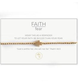 Lenny & Eva Faith Over Fear Stretch Bracelet Gold/Gold