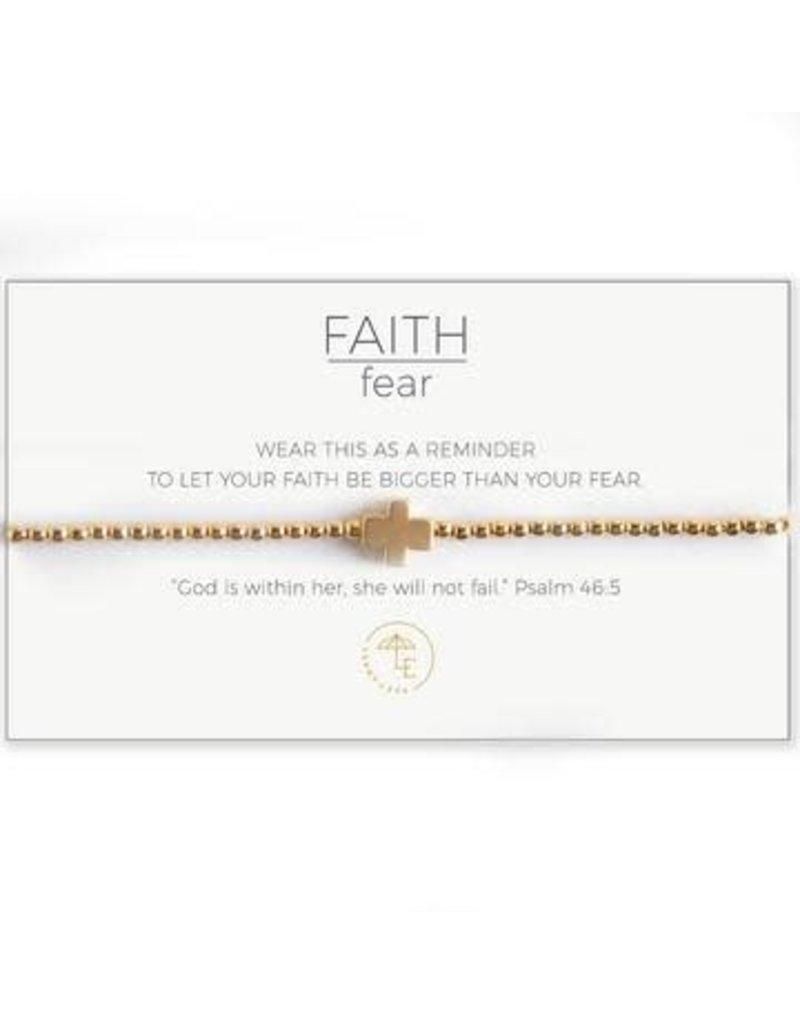 Faith Over Fear Stretch Bracelet Gold