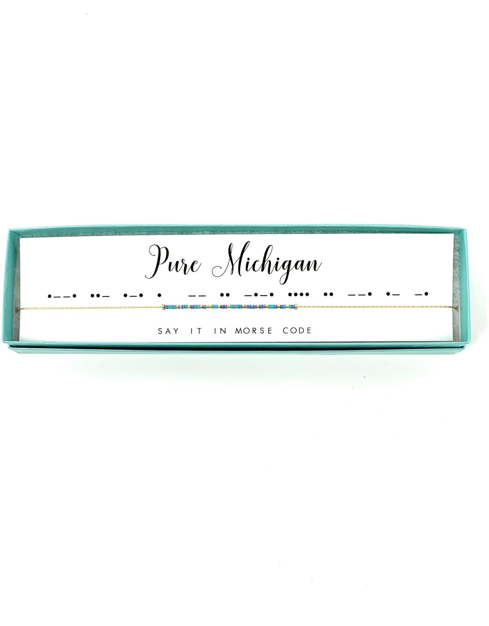 Morse Code Necklace Pure Michigan