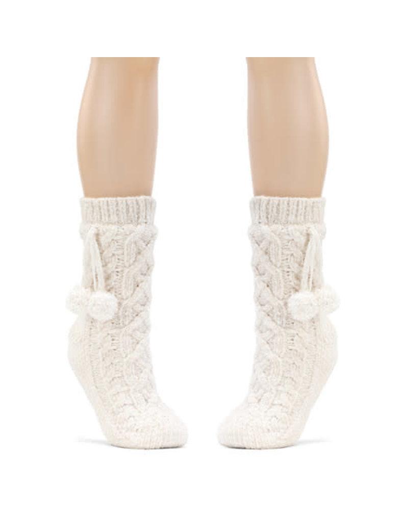 Demdaco Chenille Slipper Socks - Cream