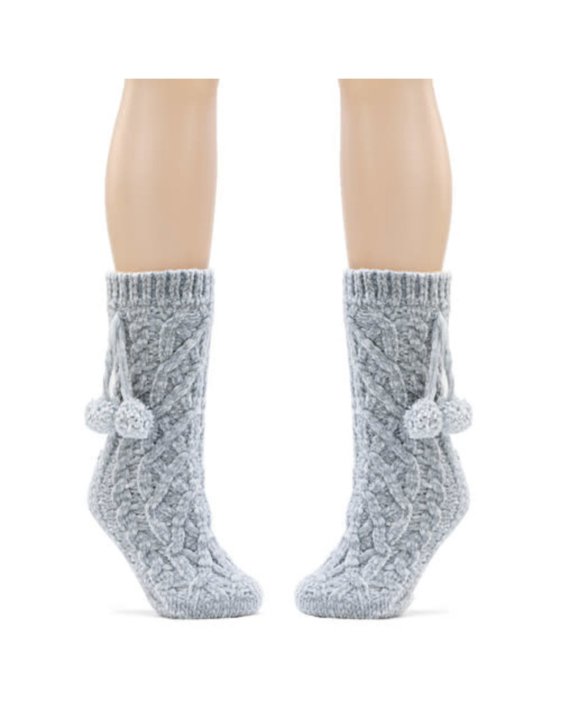 Demdaco Chenille Slipper Socks - Gray
