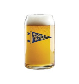Beer Can Pint Glass Michigan Pennant