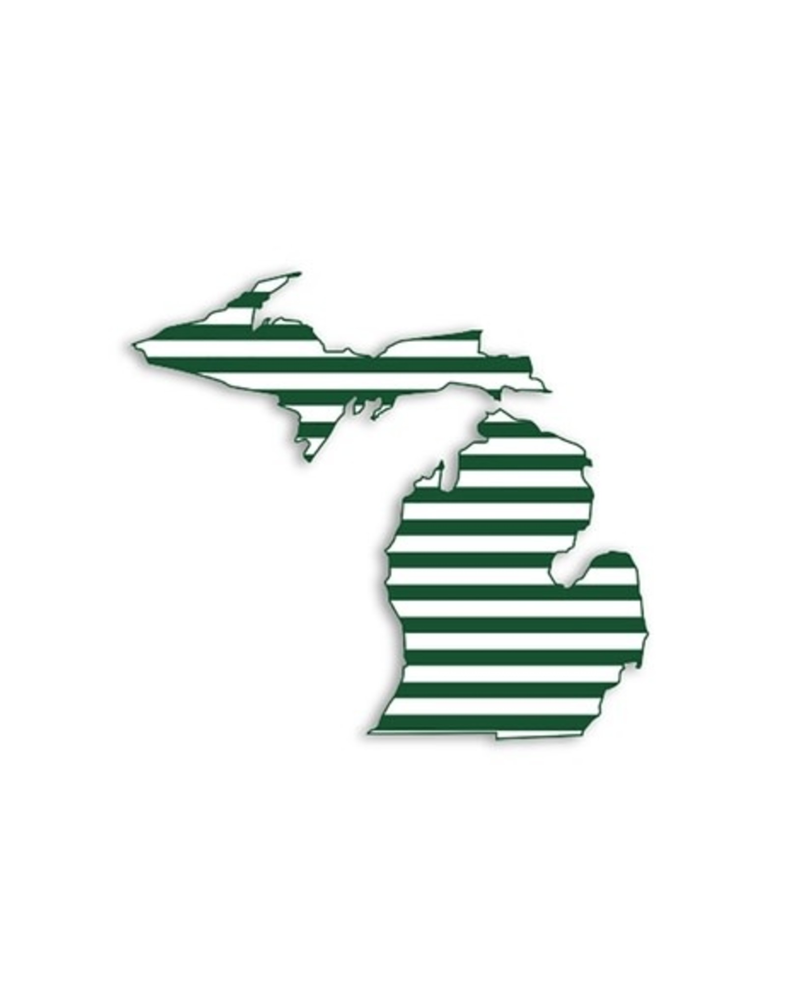 Midwest Supply Die Cut Sticker Michigan Green and White Stripe