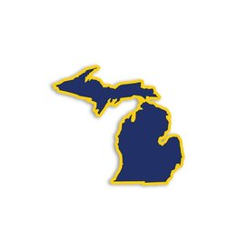Midwest Supply Die Cut Sticker Michigan Navy and Yellow