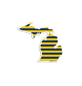 Midwest Supply Die Cut Sticker Michigan Navy and Yellow Stripe