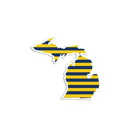 Midwest Supply Die Cut Sticker Michigan Navy and Yellow Stripe