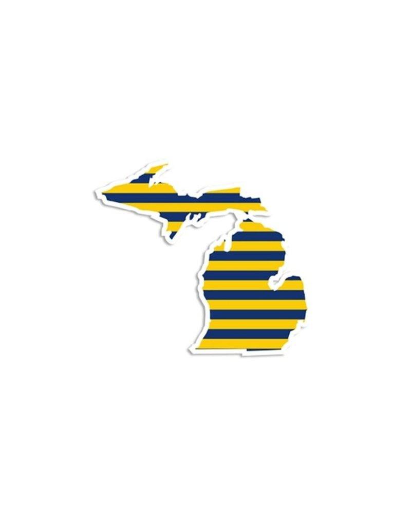 Die Cut Sticker Michigan Navy and Yellow Stripe