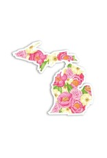 Midwest Supply Die Cut Sticker Michigan Pink Floral