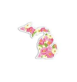 Midwest Supply Die Cut Sticker Michigan Pink Floral