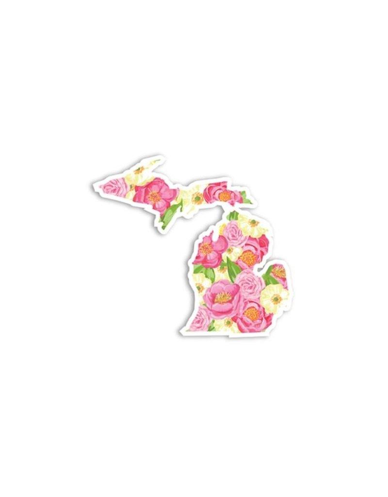 Die Cut Sticker Michigan Pink Floral