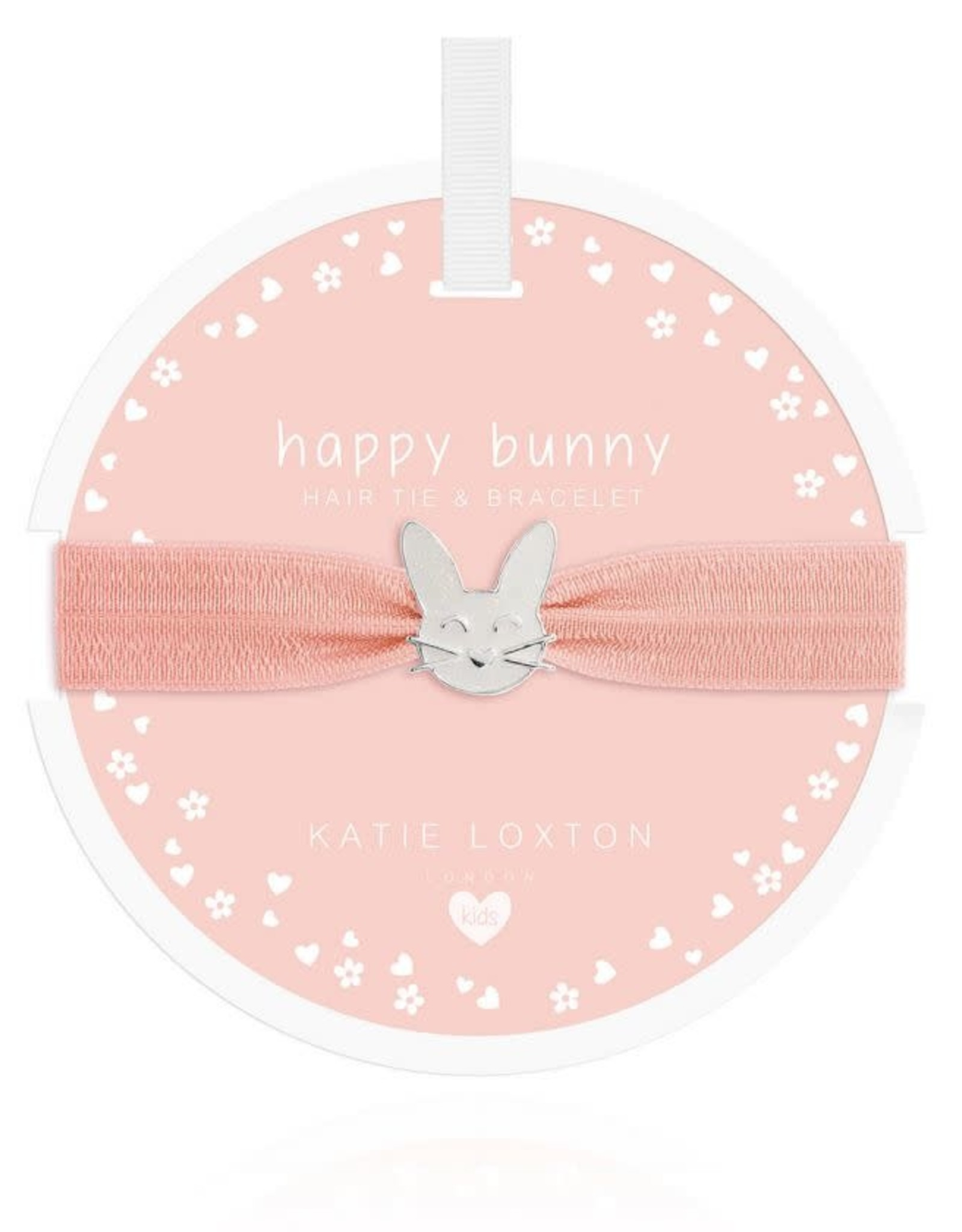 Katie Loxton Children's Hair Tie Bracelet Happy Bunny Pale Peach