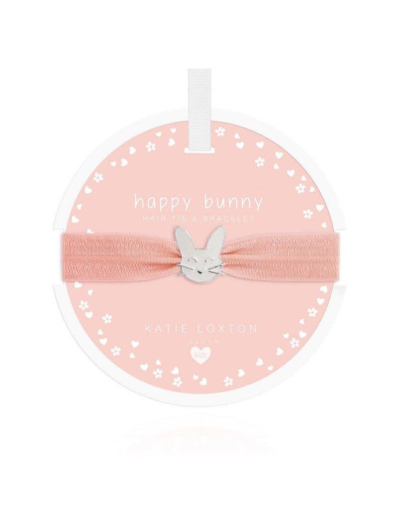 Katie Loxton Katie Loxton Children's Hair Tie Bracelet Happy Bunny Pale Peach