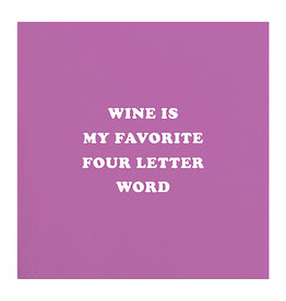 Slant Bev Napkin- Wine is Fav Word