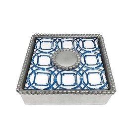 Mariposa Napkin Box - Round Pearl Beaded