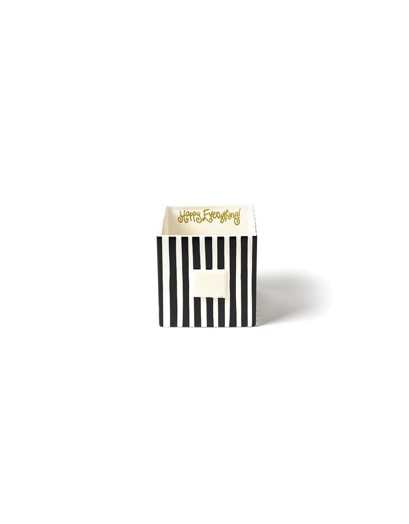 Happy Everything Mini Nesting Cube Medium Black Stripe