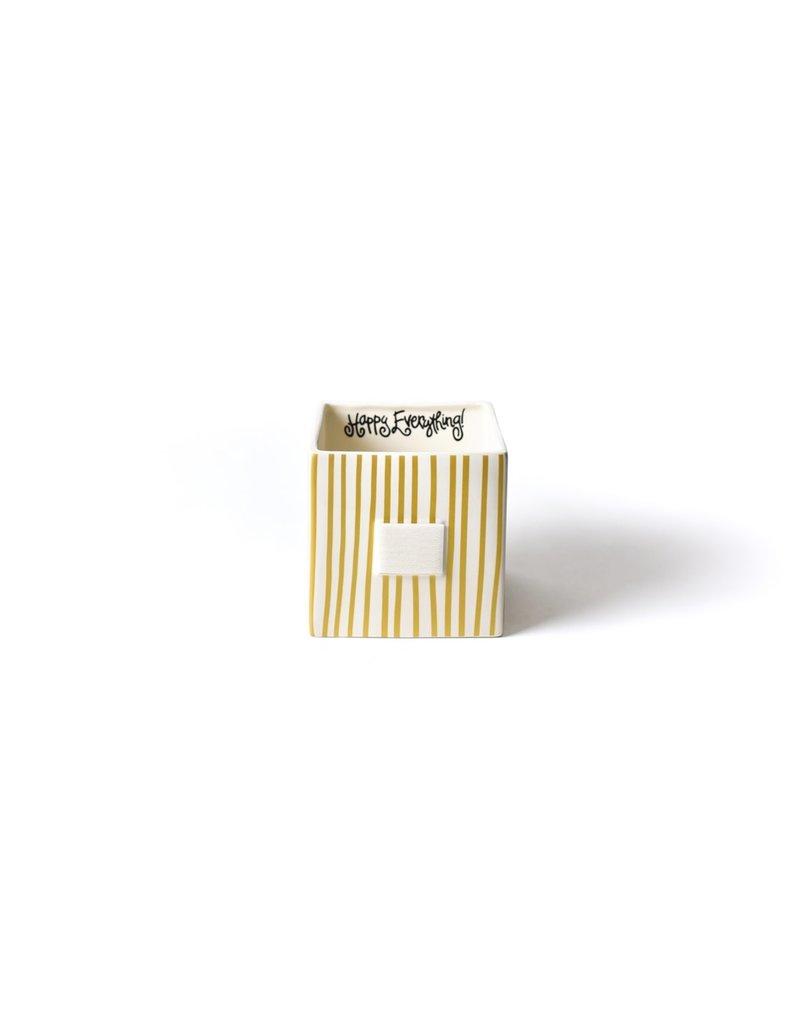 Happy Everything Mini Nesting Cube Medium Gold Stripe