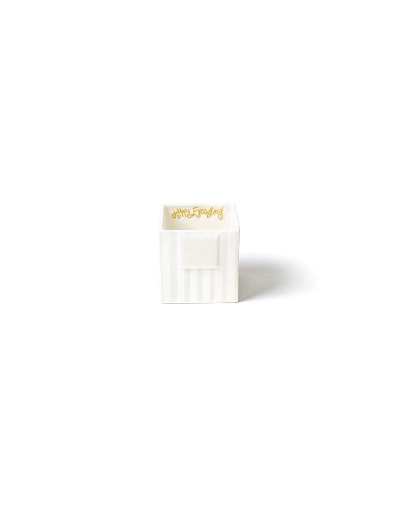 Happy Everything Mini Nesting Cube Small White Stripe