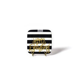 Happy Everything Mini Square Platter Black Stripe