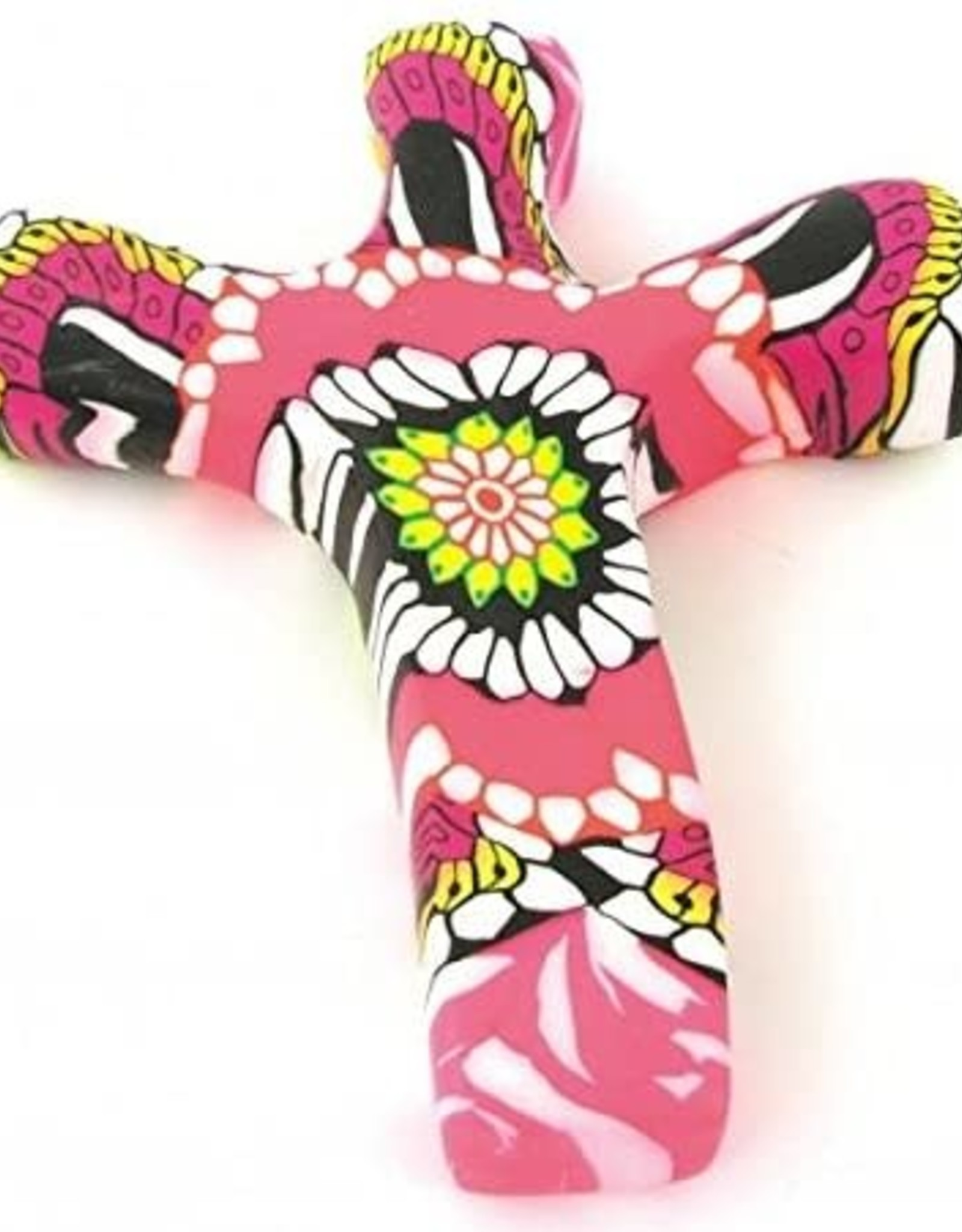 Calypso Studio Comfort Clay Cross Hand Held Cross Pink Flower