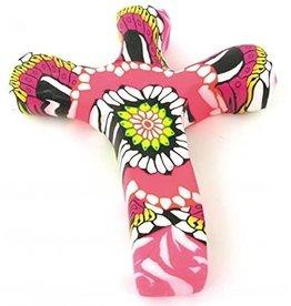 Hand Held Cross Pink Flower