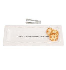 Mud Pie Circa Cracker Dish & Tong Set
