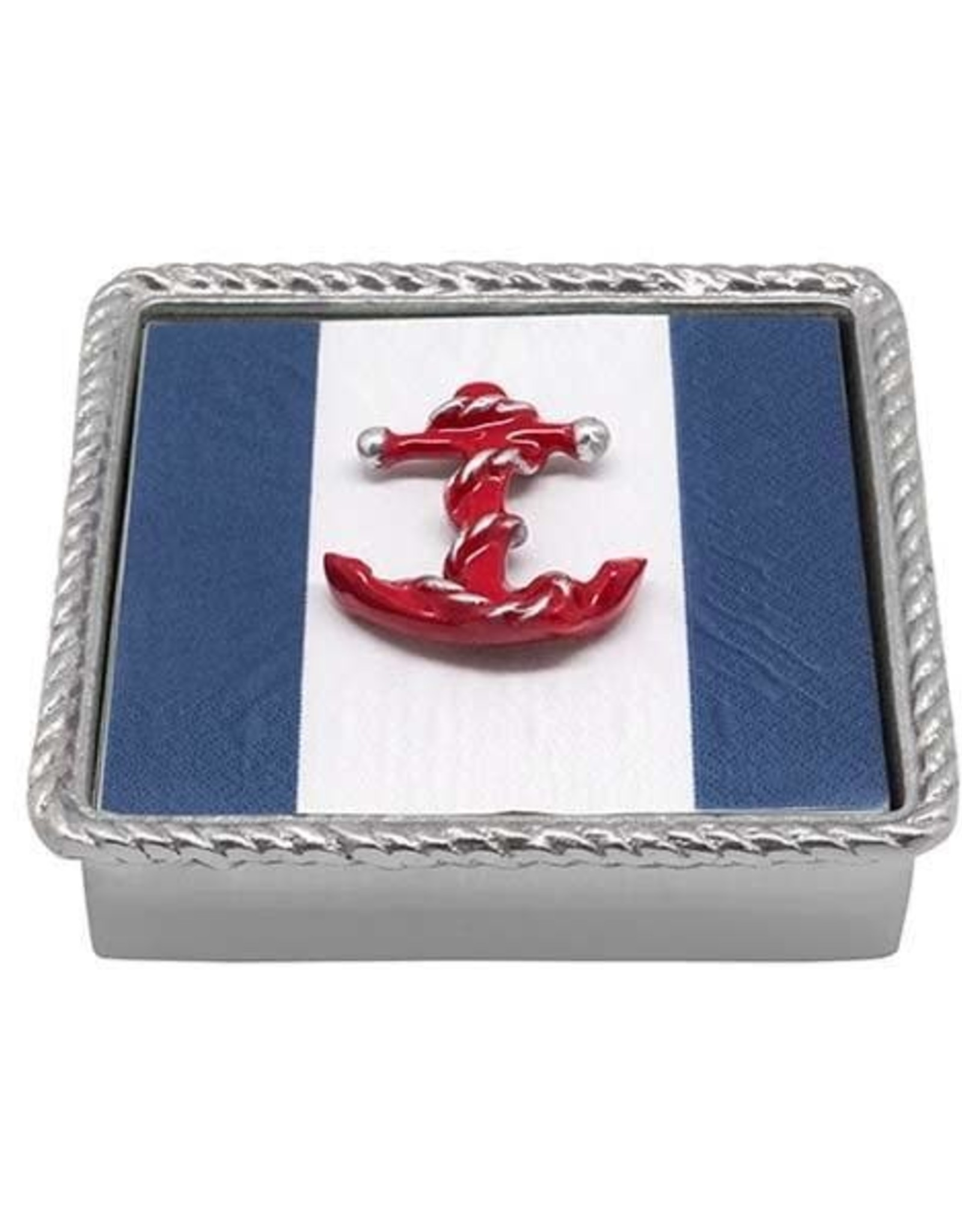 Napkin Box - Red Anchor Rope