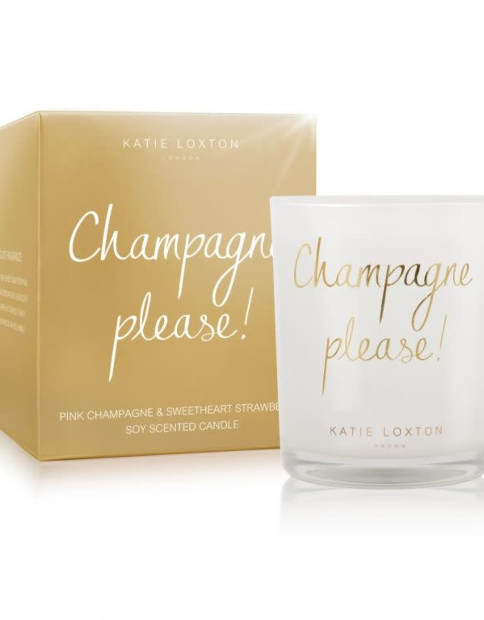 Katie Loxton Metallic Candle-Champagne Please Pink Champagne and Strawberry