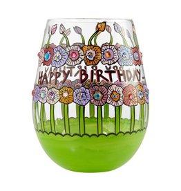 Lolita (Enesco) Stemless Wine Glass Birthday Flowers